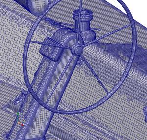 Typical CFD mesh around yacht deck gear.
