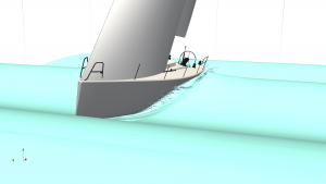 Yacht in waves modelled in CFD by TotalSim